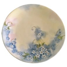 Dessert Plate Hand Painted Forget-Me-Not Flowers D & C France Delinieres Co. 1894 - 1900