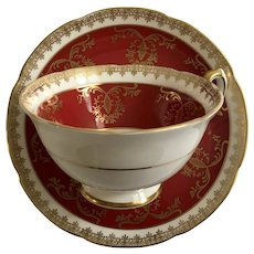 Footed Cup & Saucer Set Cranberry and Gold Royal Grafton Fine Bone China K1698