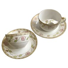 Spoke Hand Painted Nippon Gentleman Mustache Cup and Companion Teacup Pink Morning Glory Moriage
