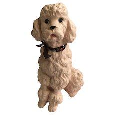 Mid-Century Universal Statuary Pink Poodle Dog Heavy Plaster Figurine