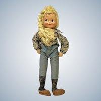 Celluloid Mask Face Country Girl Doll Jointed