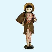 Mid-Century Asian Peasant Coconut Doll