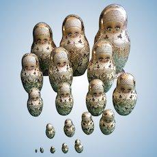 "Babushka Ceprueb Nocag Hand Painted Signed Russian Nesting Dolls 19 Piece 12-3/4""- 1/2"""