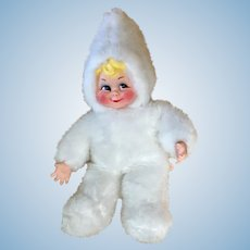 "Mid-Century Christmas Rushton Rubber Face Snow Baby Doll 24"" Stuffed Plush Toy Atlanta, Ga."