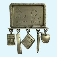 JJ Jonette School Math Teacher Chalk Board Pewter Dangle Charms Pin Brooch