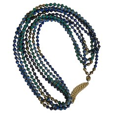 Purple, Turquoise, Blue and Brass Bead for Life Necklace Endless