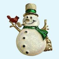 Christmas Snowman Sparkle Glitter Pin Brooch