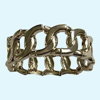"Silver-Tone Bracelet Segmented Twists on Stretchy Band 6"" Wrist"