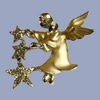 Giusti Gigio Christmas Gold-tone Angel Stars Glitter Pin