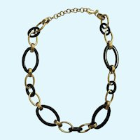 """Monet Necklace Black and Golden Loops 17-1/2"""" Long"""