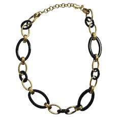 "Monet Necklace Black and Golden Loops 17-1/2"" Long"