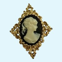 Faux Black and White Lady Cameo on Gold-Tone Metal Brooch Pin Gerry's