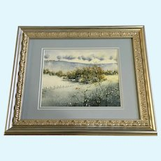 Rural Homestead in Snow Covered Valley Watercolor Painting