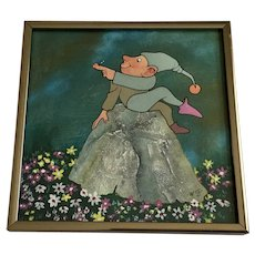 Willie Goldsmith, Elf Gnome Holding Ladybug Mixed Media Painting Signed