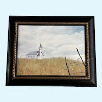 Pellegrini, Church on the Hill Landscape Oil Painting Signed by Artist