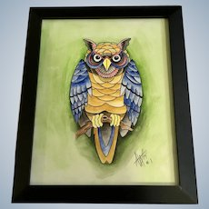 Hoot Owl Original Watercolor Painting Mixed Media Monogrammed by Artist