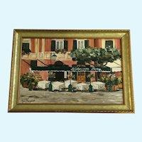 Mara Sanguineti, Portofino Street Scene Cafe Italian Riviera Oil Painting