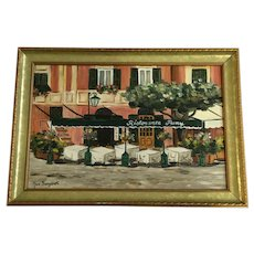 Mara Sanguineti, Portofino Street Scene Cafe Restaurant Italian Riviera Oil Painting Signed by Artist