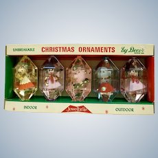 Mid-Century Christmas Jewel Brite Plastic Ornaments in Original Box