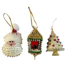 Late Mid-Century Christmas Sequin Sparkle Ornaments Santa Tree