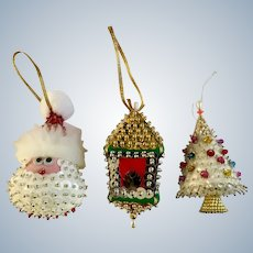 Late Mid-Century Christmas Sequin Sparkle Ornaments Santa Tree