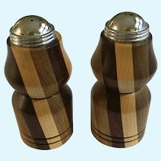 Inlaid Wood Marquetry 4 Color Design Salt & Pepper Shakers