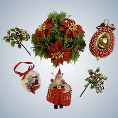 Vintage Christmas Ornaments Santa's Foliage Group