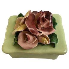 Vintage Johannes Brahm Flower Rose Trinket Box California Pottery