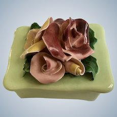 Vintage Johannes Brahm Flower Rose Trinket Box California Pottery