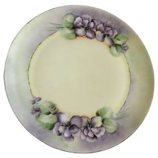 Purple Flowers Luncheon Plate Hand Painted Signed by Artist