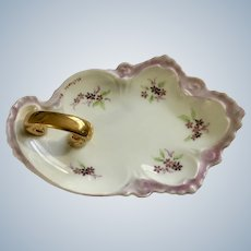 Vintage Nappy Hand Painted Purple Flowers Gold-tone Handle Signed by Artist