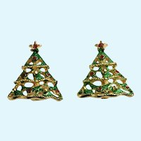 Vintage Christmas Tree Gold-tone Enamel Clip-On Earrings