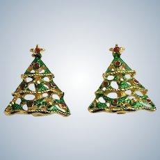 Vintage Christmas Tree Gold-tone Enamel Clip-On Earrings