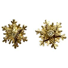 Christmas Snowflake Gold-tone Faux Diamond Pierced Earrings