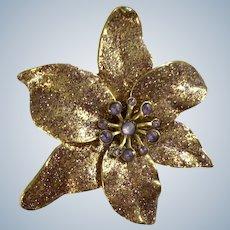 Gorgeous Christmas Poinsettia Purple Sparkle Glitter Gold-tone Pin Brooch