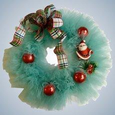 Beautiful Christmas Santa Wreath Aqua Color & Plaid Bow