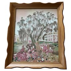 Vintage Southern Belle Weeping Willow Textile Applied Glitter Wall Art