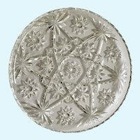 Pressed Glass Round Sparkle Star Design Serving Plate  11""