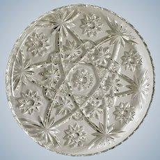 "Pressed Glass Round Sparkle Star Design Serving Plate  11"""