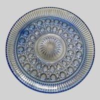 Federal Glass Windsor Carnival Blue Serving or Cake Plate