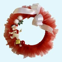 Beautiful Christmas Snowman Wreath Red White Bow