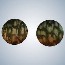 Silk Round Button Shaped Pierced Earrings