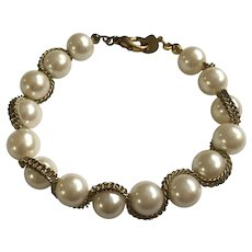 Faux Pearl with Gold-tone wrap Chain Bracelet