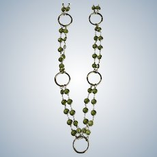 Silver-Tone Large Circle and Faux Peridot Beaded Necklace
