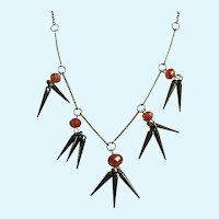 Silver-Tone Glass Red to Rainbow Beads & Spikes Necklace