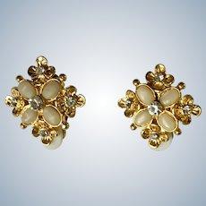 Shiny Gold-tone Faux Diamond Clip On Earrings