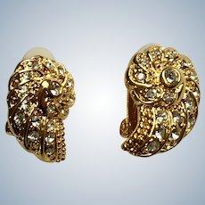 Shiny Gold-tone Faux Diamond Wings Clip On Earrings