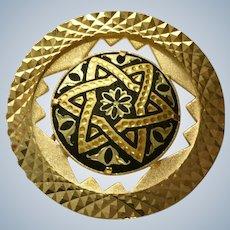 Star Toledo Black and Gold-Tone Brooch Pin Damascene Jewelry