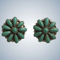 Native American Sterling Zuni Turquoise Clip On Earrings Signed P. Jones