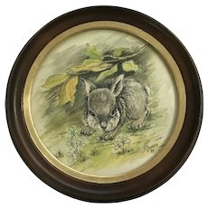 V. Younger, Bunny Rabbit Mixed Media Watercolor Works on Paper Signed By Artist 1973